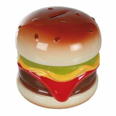 Geld spaarpot hamburger 14 cm