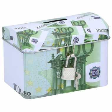 Geldkistje/spaarpot 100 euro 11 x 8 cm