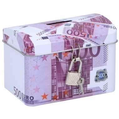 Geldkistje/spaarpot 500 euro 11 x 8 cm