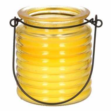 Gele anti muggen kaars in glazen potje