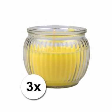 Gele citronella kaarsen in houder 3 stuks