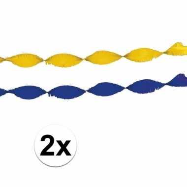 Gele en blauwe feest slingers
