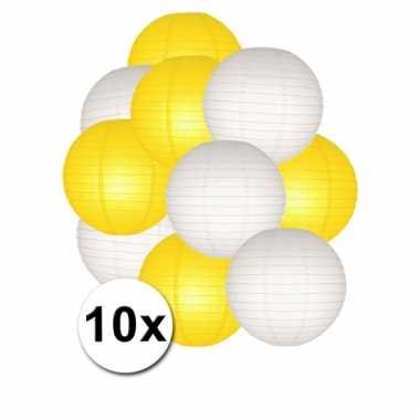 Gele en witte feest lampionnen 10x