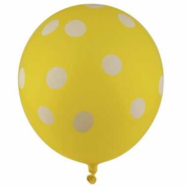 Gele feest ballonnen met witte stippen 30 cm 5st