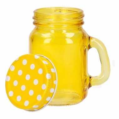Gele glazen voorraad potjes 120 ml