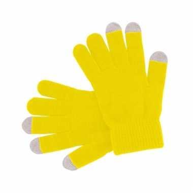 Gele handschoenen voor je mobiel