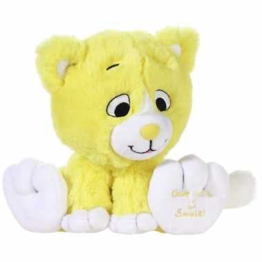 Gele knuffel kat/poes give me a smile 14 cm