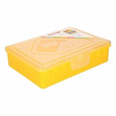 Gele opbergdoos met vakken 33 cm