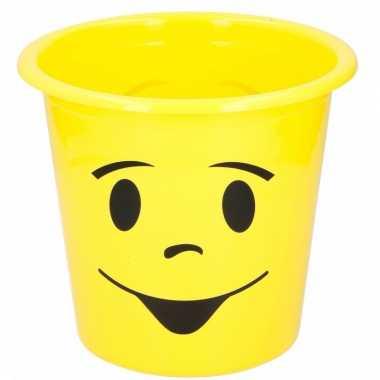 Gele prullenbak met smiley