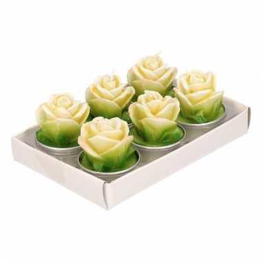 Gele roos kaarsen set 6 stuks