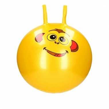 Gele skippybal met dieren gezicht 46 cm