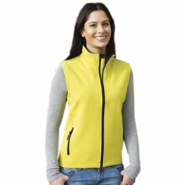 Gele softshell sport bodywarmers voor dames
