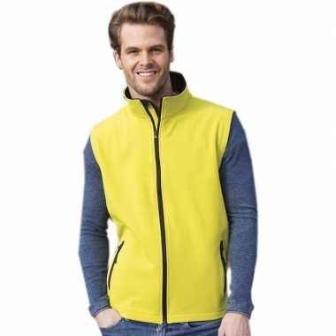 Gele softshell sport bodywarmers voor heren