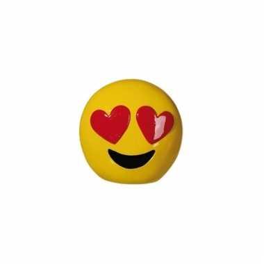 Gele spaarpot emoji hartjesogen 13 cm