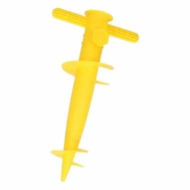 Gele strand parasolhouder / parasolboor/ parasolharing 30 cm