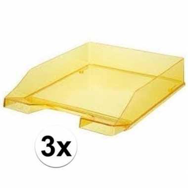 Gele transparante documentenbakjes a4 han 3 stuks
