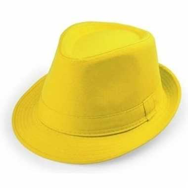 Gele trilby hoedjes voor volwassenen