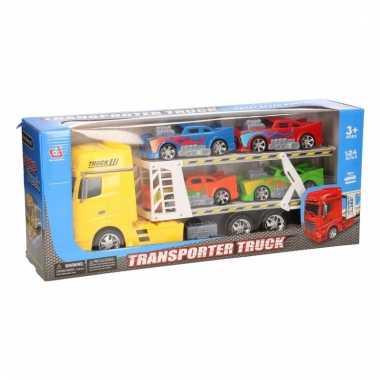 Gele vrachtwagens 44 cm met vier voertuigen
