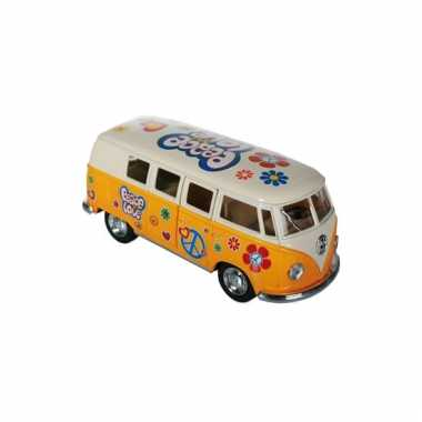 Gele vw model bus 12,5 cm