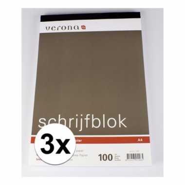 Gelinieerde schrijfblokken a4 100 vel 3 x