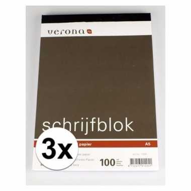 Gelinieerde schrijfblokken a5 100 vel 3 x