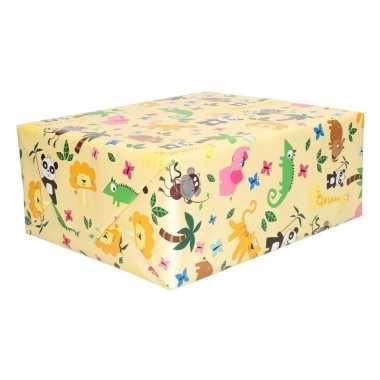 Geschenkpapier geel met dieren 200 x 70 cm