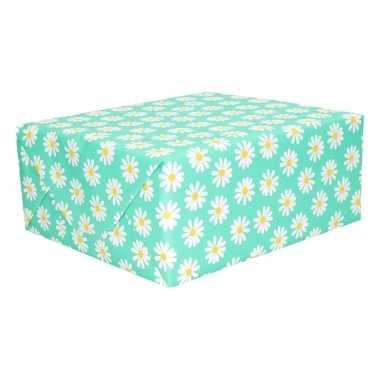 Geschenkpapier groen met bloemen 200 x 70 cm