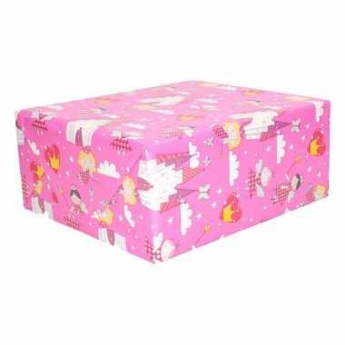 Geschenkpapier roze met feetjes 200 x 70 cm