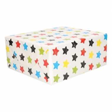 Geschenkpapier wit met sterren 200 x 70 cm