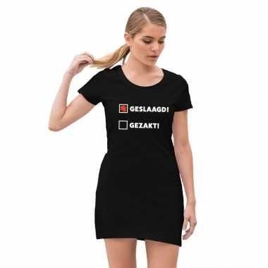 Geslaagd / gezakt jurkje zwart voor dames