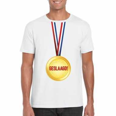 Geslaagd medaille t-shirt wit heren