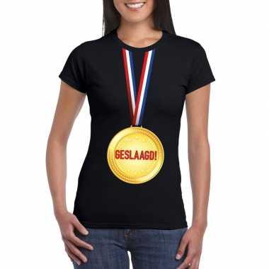 Geslaagd medaille t-shirt zwart dames