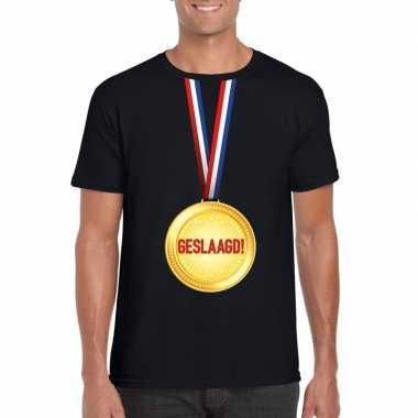 Geslaagd medaille t-shirt zwart heren