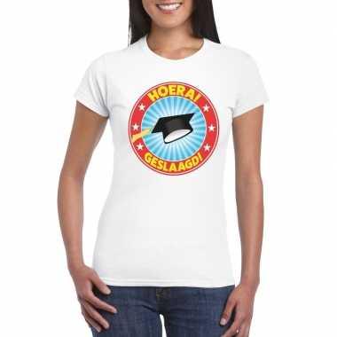 Geslaagd t-shirt met afstudeerhoedje wit dames