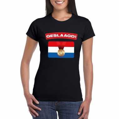 Geslaagd vlag t-shirt zwart dames