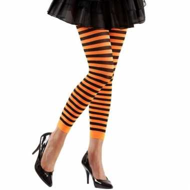 Gestreept dames legging oranje/zwart