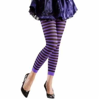 Gestreept dames legging paars/zwart