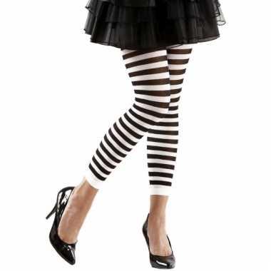Gestreept dames legging wit/zwart