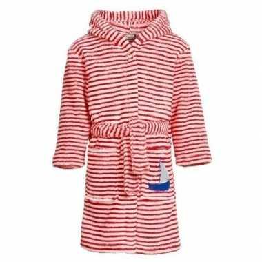 Gestreepte badjas rood/wit voor jongens/meisjes/kinderen