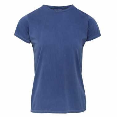 Getailleerde dames t-shirt met ronde hals blauwe