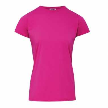 Getailleerde dames t-shirt met ronde hals fuchsia