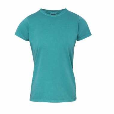 Getailleerde dames t-shirt met ronde hals groene