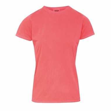 Getailleerde dames t-shirt met ronde hals oranje