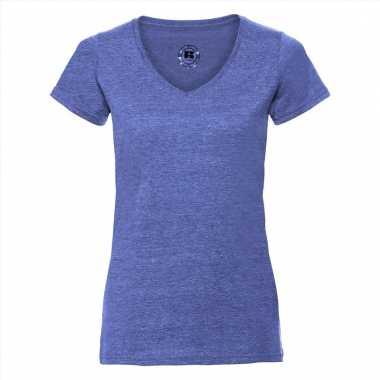Getailleerde dames t-shirt met v-hals blauw