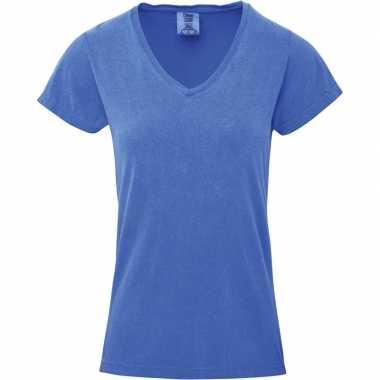 Getailleerde dames t-shirt met v-hals blauwe