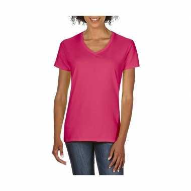 Getailleerde dames t-shirt met v-hals fuchsia