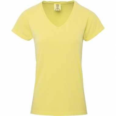 Getailleerde dames t-shirt met v-hals gele
