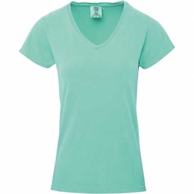 Getailleerde dames t-shirt met v-hals groene