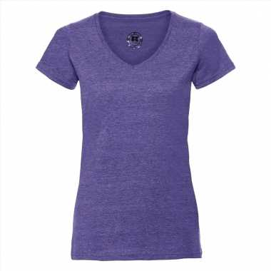 Getailleerde dames t-shirt met v-hals lila