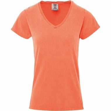 Getailleerde dames t-shirt met v-hals oranje
